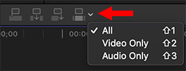 A menu option in Apple Final Cut Pro X allowing editing audio, video or both.