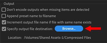 Set default compression location in preferences.