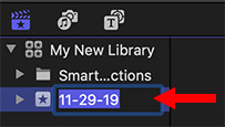 The Library List in Apple Final Cut Pro X.