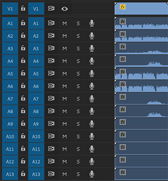A multichannel audio clip in the Adobe Premiere Pro CC timeline.