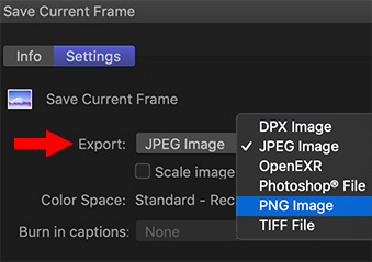 The Save Current Frame dialog from Apple Final Cut Pro X.