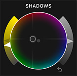 A color wheel for color correction in Apple Final Cut Pro X.